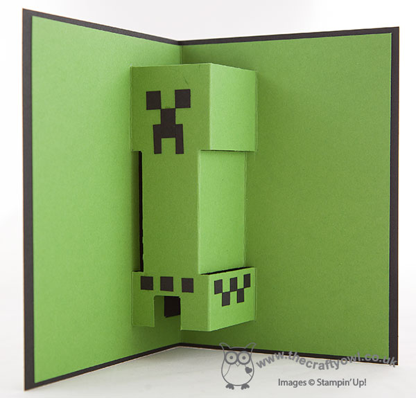 The crafty owl minecraft creeper pop up birthday card this must be a record in terms of supplies given that you can make one of these cards with some basic cardstock and not bookmarktalkfo Image collections